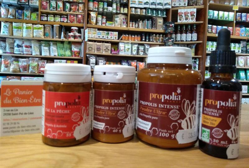 Apitherapie-produits-ruche-Propolis-Miels-Pollen-frais-Gele royale-propolia-aristee-alveolys-vitalite-panier-bien-etre-st-pol-de-leon-finistere